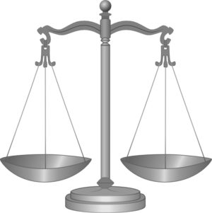 Justice's scales, illustrating a website about collections services in New York State.